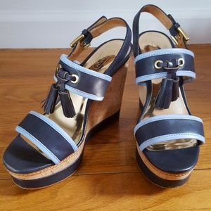 Coach Navy/Light Blue Guileietta Wedges- Size 7